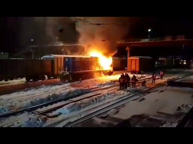 Тепловоз сгорел на станции Зима ВСЖД