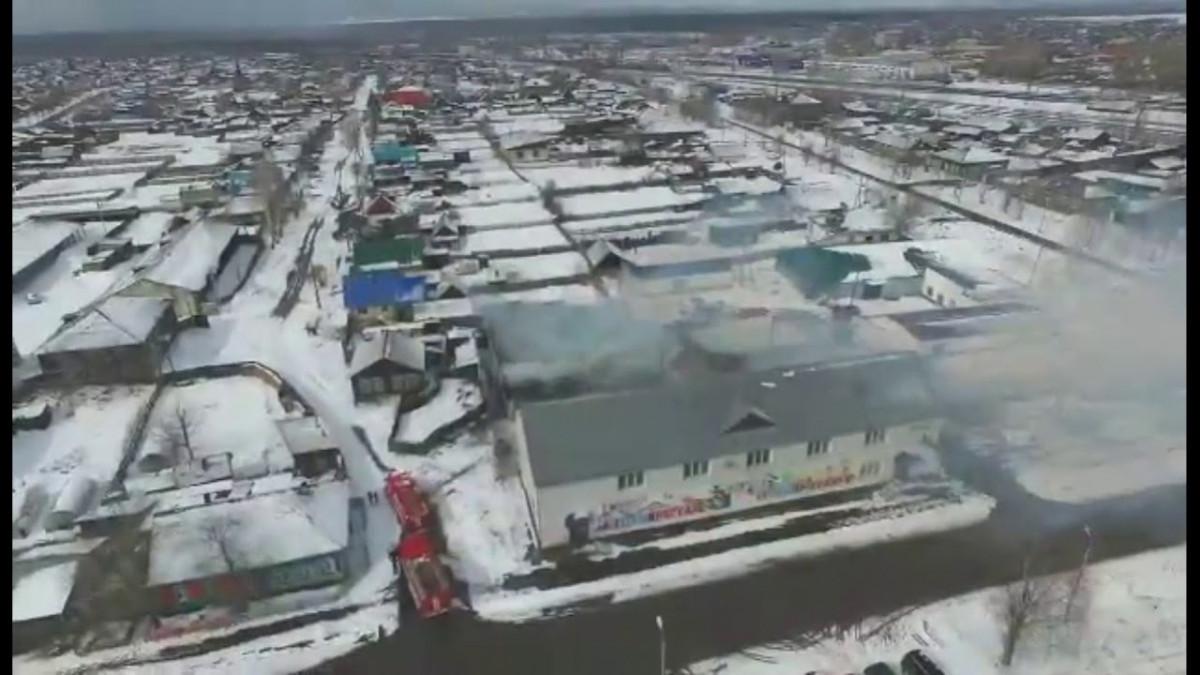 Пожар на складе в Тайшете с высоты птичьего полёта