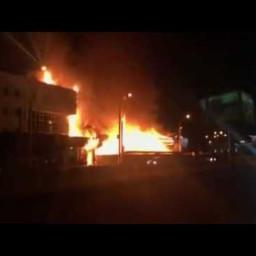 Пожар на улице Ширямова возле здания аэропорта Иркутск